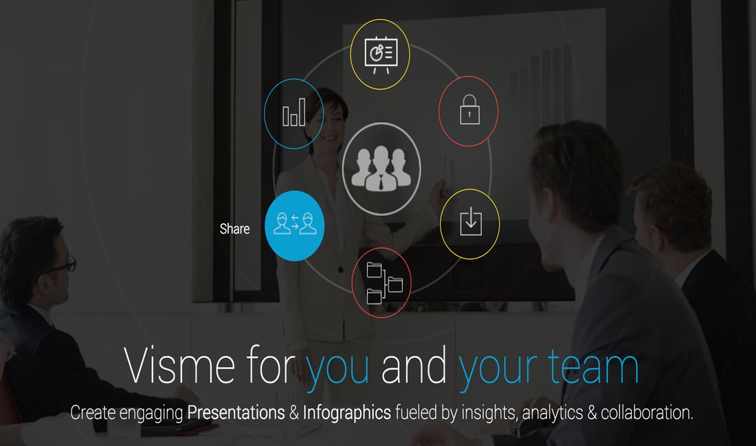 Visme allows you to create infographics and other presentations